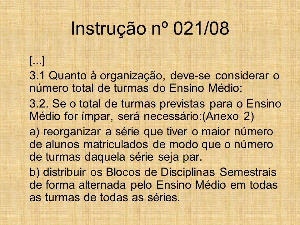 Instrução nº 021/08 [...] 3.1 Quanto à organização, deve-se considerar o número total de turmas do Ensino Médio:
